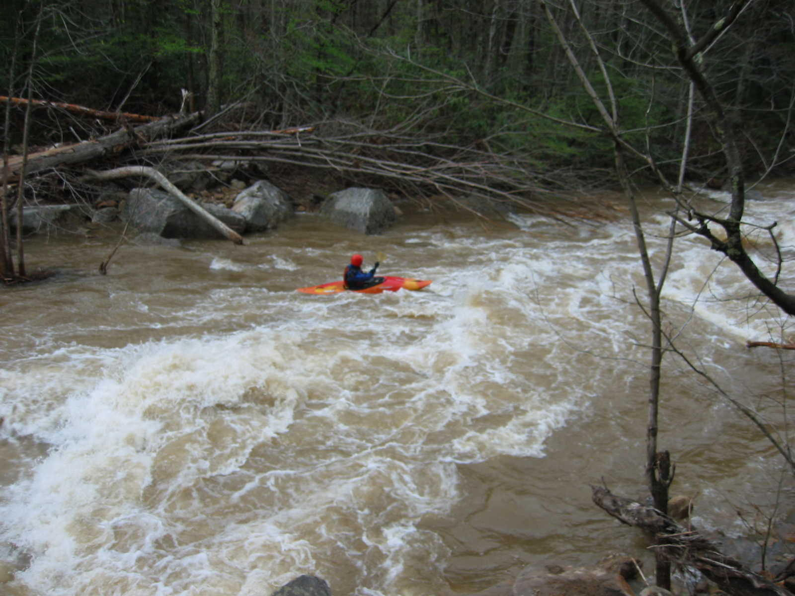 Bob Maxey in runout of the big South Fork rapid (Photo by Lou Campagna - 4/26/04)