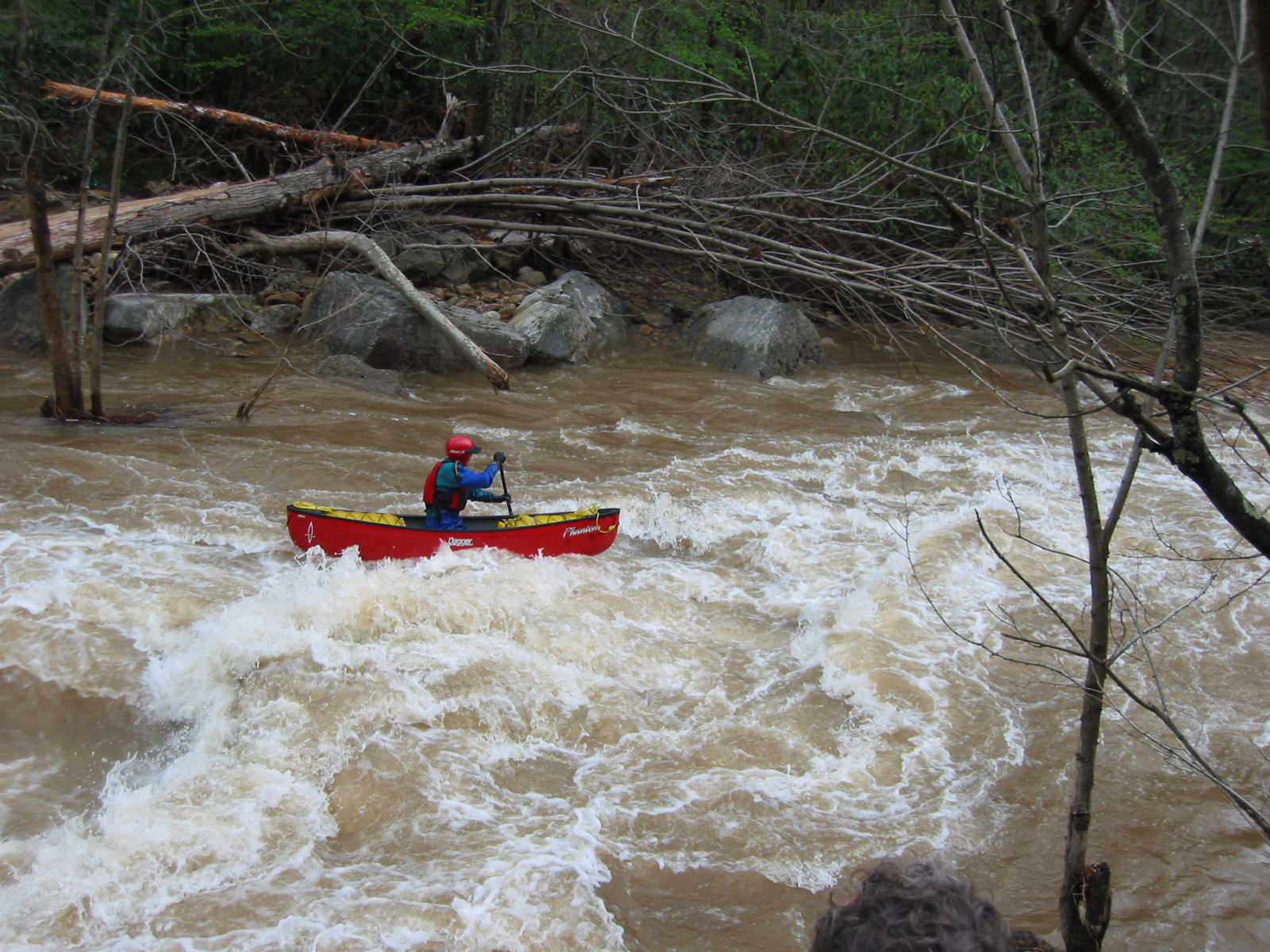 Scott Gravatt in runout of the big South Fork rapid (Photo by Lou Campagna - 4/26/04)