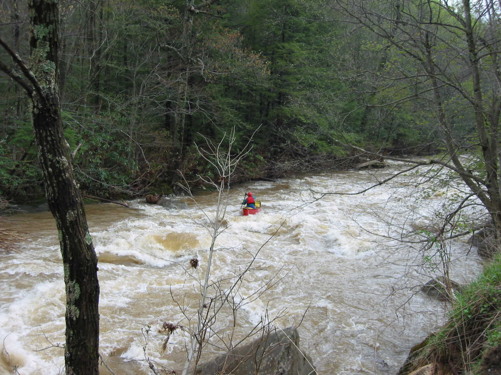 Scott Gravatt continuing below the big South Fork rapid (Photo by Lou Campagna - 4/26/04)