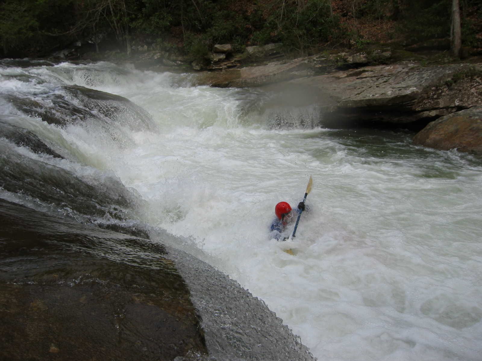 Bob Maxey at bottom of first of the Three Falls a.k.a. Lunch Ledge (Photo by Scott Gravatt - 4/27/04)