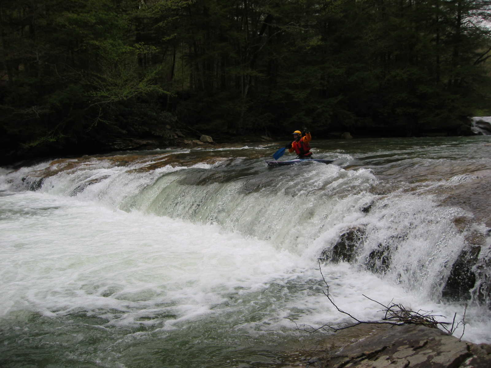 Scott Zetterstorm in Crapper Falls (Photo by Scott Gravatt - 4/27/04)