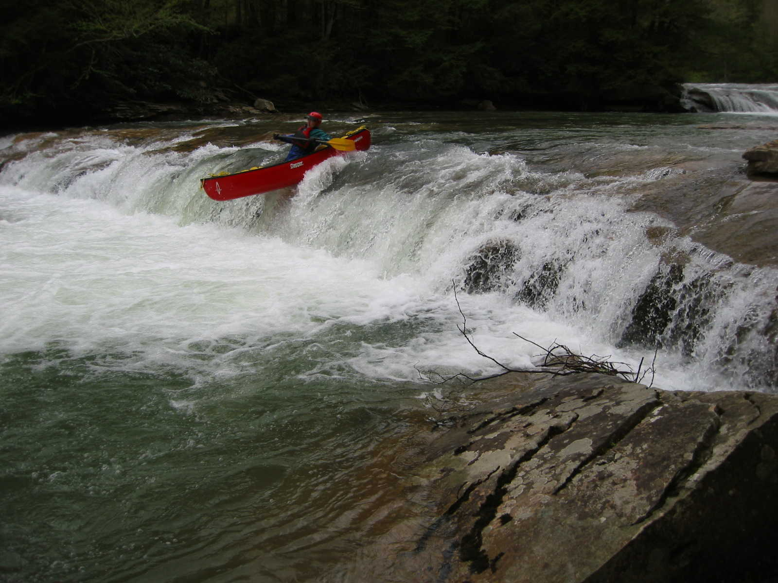 Scott Gravatt in Crapper Falls (Photo by Lou Campagna - 4/27/04)