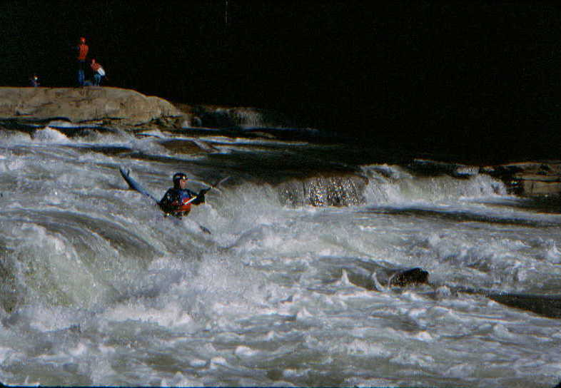 Another boater at the big ledge on the Upper Big Sandy (Photo by Bob Maxey - 2/24/96)