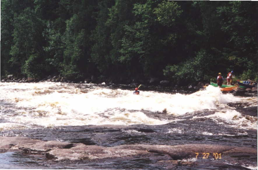 Bob Maxey after big wave in long Class 3-4 rapid (Photo by Keith Merkel - 7/27/01)