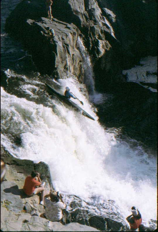 Great Falls racer launching at the Virginia Falls (Photo by Bob Maxey - 8/11/91)