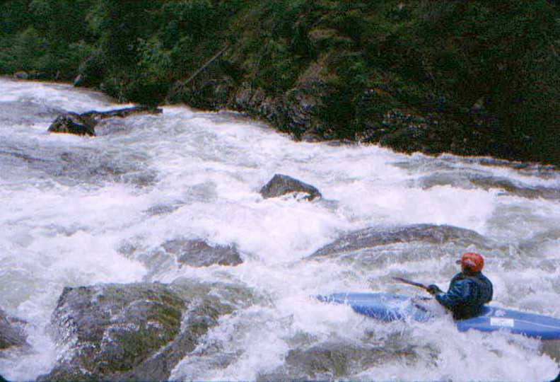 Lee Belknap negotiating one of many rapids on the Skook (Photo by Bob Maxey - 7/3/99)