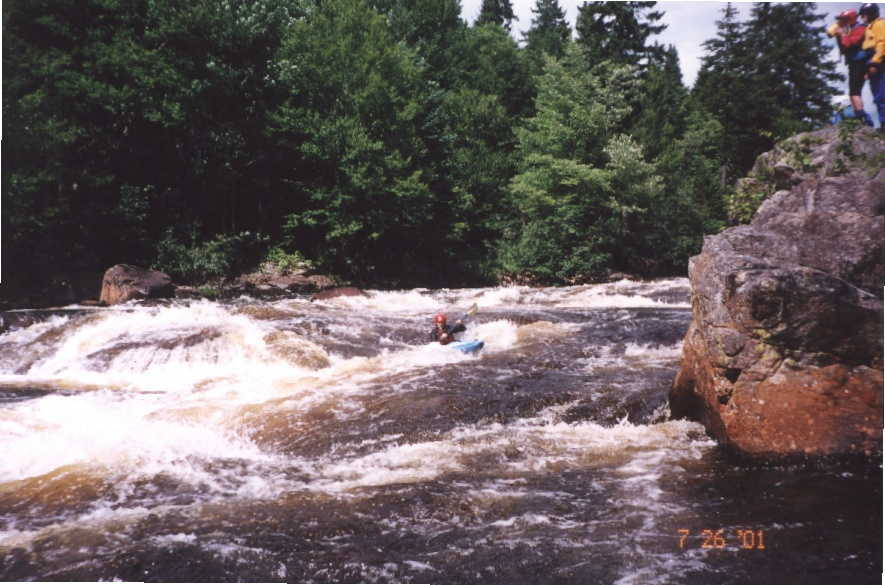 Bob Maxey starting down Surprise/Island Rapid (Photo by Keith Merkel - 7/26/01)