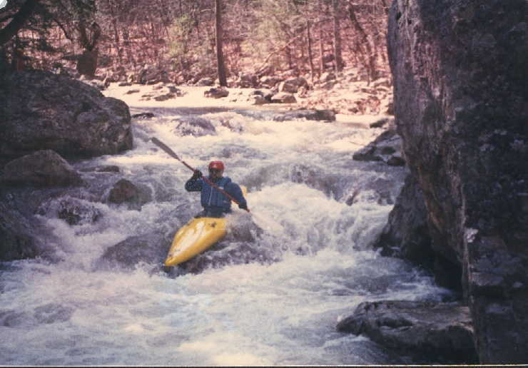 Keith Merkel scraping along on Trout Run many years ago