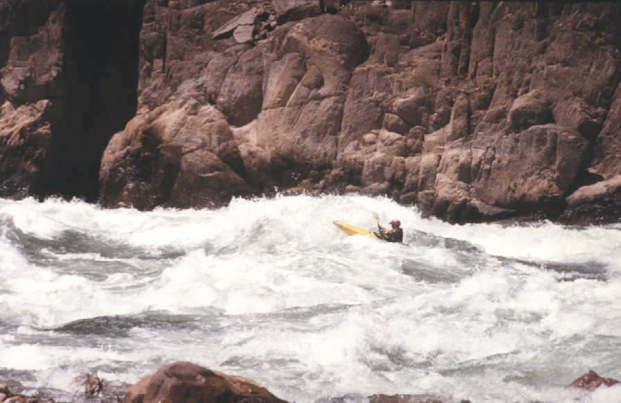 Keith Merkel in one of many rapids in the Grand Canyon (1996)